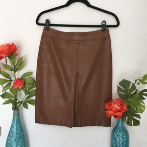 The Limited Tan Leather Pencil Skirt